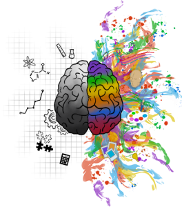 Image of a two-sided brain with one half black and white and the other very colorful. This image illustrates how the brain heals in mind-body medicine in Pikesville, MD. Working with a holistic therapist in Pikesville, MD can help you heal from trauma. | 21136